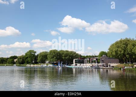 Aasee lake in Munster, North Rhine-Westphalia, Germany - Stock Photo