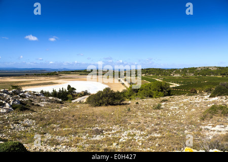 Dried brine pool under bright blue sky at Gruissan in southern France - Stock Photo