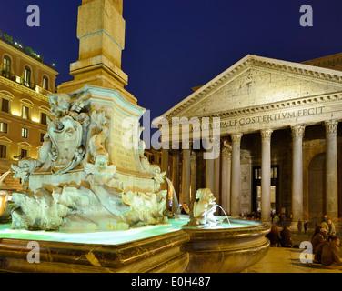 Fountain on Piazza della Rotonda with Pantheon at night, illuminated, UNESCO World Heritage Site Rome, Rome, Latium, - Stock Photo