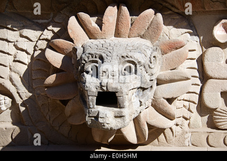 Water serpent Temple of Quetzalcoatl Teotihuacan Mexico - Stock Photo