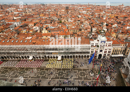 Old Procuracies and clock tower on St. Mark's Square, Venice, Venetia, Italy, Europe - Stock Photo