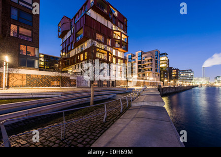 Modern architecture in the twilight, Am Kaiserkai, Grasbrook, HafenCity, Hamburg, Germany - Stock Photo