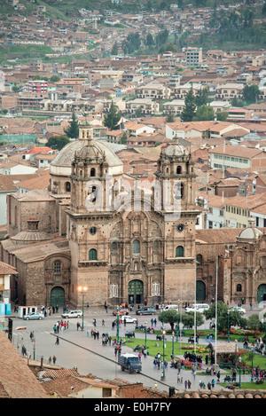 Iglesia La Compania de Jesus cathedral on Plaza de Armas square, Cusco, Cuzco, Peru, Andes, South America - Stock Photo