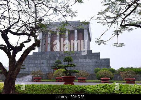 Side view of Ho Chi Minh Mausoleum -the historic place where Respected Uncle Ho lies in state. - Stock Photo