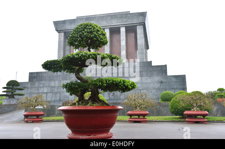 side view of Ho Chi Minh Mausoleum , the historic place where Respected Uncle Ho lies in state. - Stock Photo