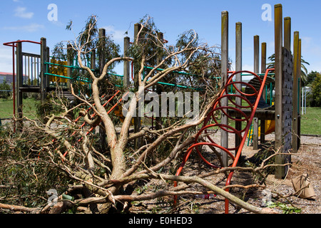 A children's playground at the scene of devastation following a Tornado, Waimarie Road, Whenuapai, Auckland, New - Stock Photo