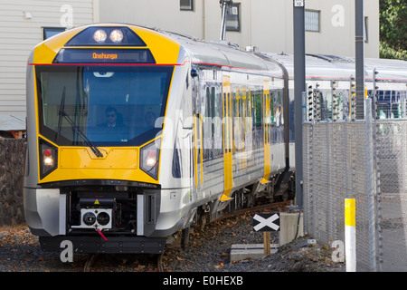 The new Auckland Transport Electric Train on its first day of operation, Onehunga, Auckland, New Zealand - Stock Photo