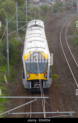 The new Auckland Transport Electric Train on its first day of operation, Remuera, Auckland, New Zealand - Stock Photo