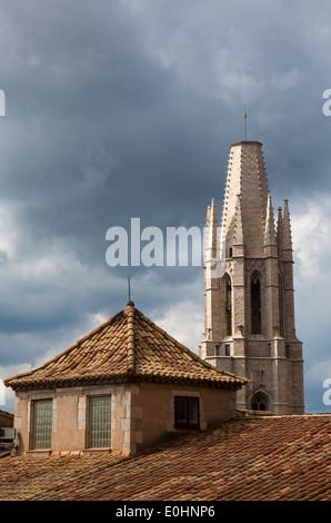 Basilica Parroquial de Sant Feliu, Girona, Catalonia, Spain - Stock Photo