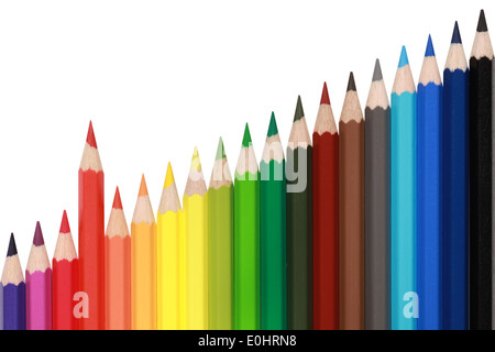 Colored pencils in a row forming a rising chart with a red pencil standing out from the crowd - Stock Photo
