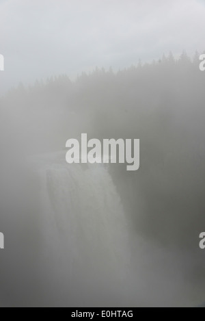 Fog over Snoqualmie Falls, Snoqualmie, Fall City, Washington State, USA - Stock Photo