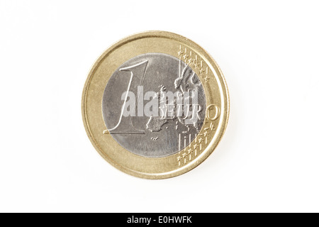 One euro coin isolated on a white background - Stock Photo