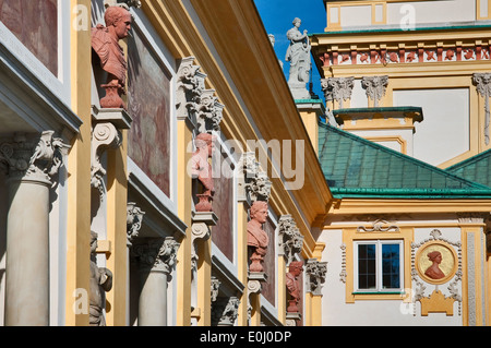 Busts of Roman emperors at Wilanów Palace in Warsaw, Poland - Stock Photo