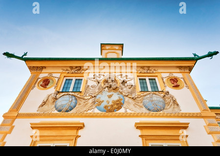 Uranus panel, designed by Johannes Hevelius et al, on north wall of Wilanów Palace in Warsaw, Poland - Stock Photo