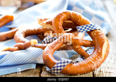 Fresh homemade traditional Bavarian pretzel.Selective focus in the middle of pretzel - Stock Photo