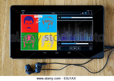 Queen Album, Hot Space, MP3 album art on PC tablet, England - Stock Photo