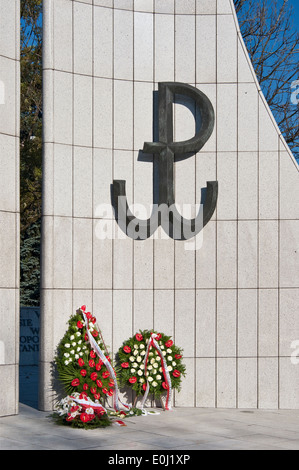 Kotwica (Anchor), WW2 emblem of Polish Secret State and Armia Krajowa (Home Army) at Home Army Monument in Warsaw, - Stock Photo
