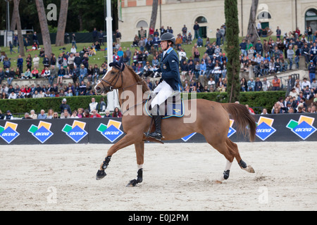 Peder Fredricson of Sweden competing in the Furusiyya FEI Nations Cup at the Piazza di Siena in Rome 2013 - Stock Photo