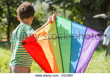 Young Boy Flying Kite On Holiday In Countryside - Stock Photo