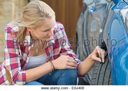 Woman Checking Tread Depth On Car Tyre - Stock Photo