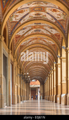 BOLOGNA, ITALY - MARCH 16, 2014: External corridor from Via Farini street in morning. - Stock Photo