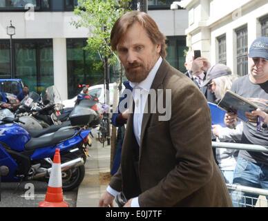 London, UK, 14  May 2014, Viggo Mortensen outside BBC Radio 2 studios. He was there to promote his latest movie - Stock Photo