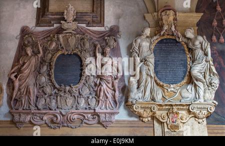 BOLOGNA, ITALY - MARCH 15, 2014: Epitaph from External atrium of Archiginnasio - Stock Photo