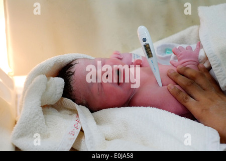 Newborn baby a few minutes old in a hospital incubator in malang east java indonesia
