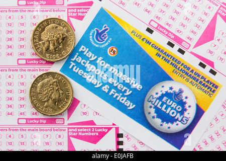 UK National Lottery Euro Millions payslips with number boards for selecting numbers and two £1 coins from above. England Britain