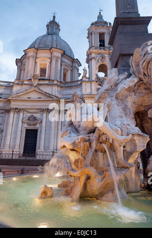 The Four Rivers fountain, by Bernini, in the Piazza Navona, Rome Italy Europe - Stock Photo