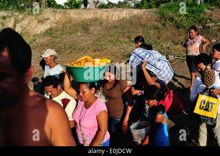 Selling food - Cruise boat on the Amazon ; IQUITOS - YURIMAGUAS . Department of Loreto .PERU - Stock Photo