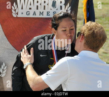 2013 Warrior Games women's bicycle open bronze medal winner retired Army Sgt. Ashley Crandall receives her medal - Stock Photo