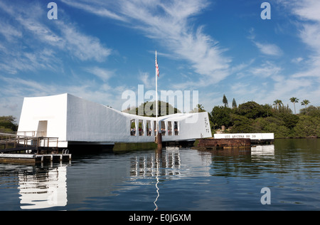 USS Arizona Memorial at Pearl Harbor Oahu, Hawaii - Stock Photo