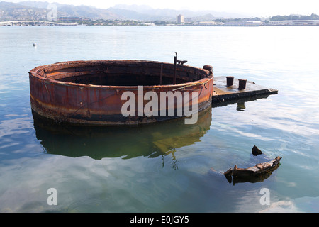 Rusty part of USS Arizona Pearl Harbor, Oahu, Hawaii - Stock Photo