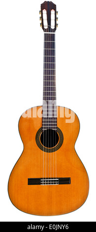full view of classical acoustic guitar isolated on white background