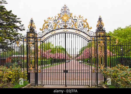 a view from Queen Mary's Garden through a gate towards Chester Road in Regent's Park in London - Stock Photo