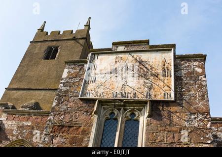 Sundial on the front of St Matthew's Church, Cheriton Fitzpaine, Devon, United Kingdom - Stock Photo