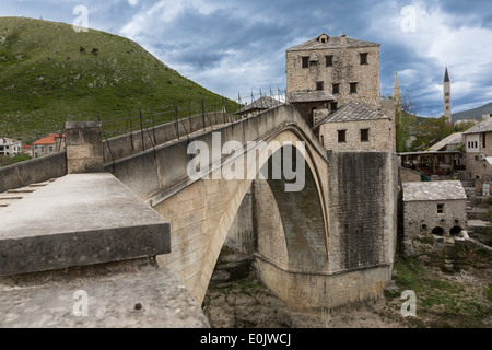 Bridge Stari Most in Mostar in Bosnia and Herzegovina - Stock Photo