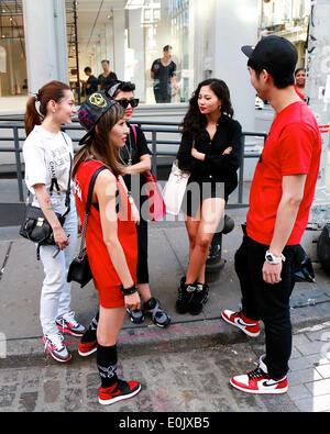 Charlie Yin, Siru Quian, Candy Zong, Sabrina Xin and Ying Bin Wu walking in New York City - May 12, 2014 - Photo: - Stock Photo