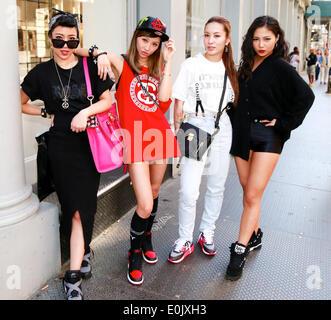 Candy Zong, Siru Quian, Charlie Yin and Sabrina Xin walking in New York City - May 12, 2014 - Photo: Runway Manhattan/Charles - Stock Photo