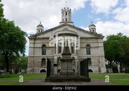 St George in the East church in Stepney, London, was built from 1714 to 1729 by Nicholas Hawksmoor. - Stock Photo