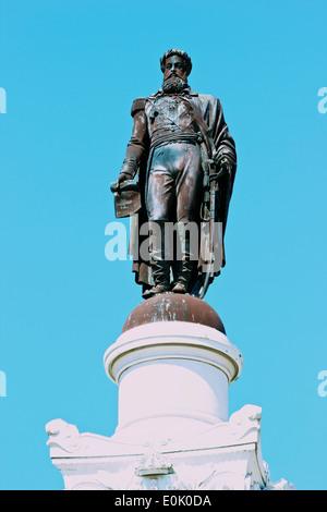1874 bronze statue monument of king Pedro 1V  Rossio (Praca Dom Pedro 1V) Lisbon Portugal western Europe - Stock Photo