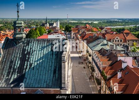 Opatowska Street in Old Town area of Sandomierz, view from Opatow Gate, Malopolska aka Lesser Poland region, Poland - Stock Photo