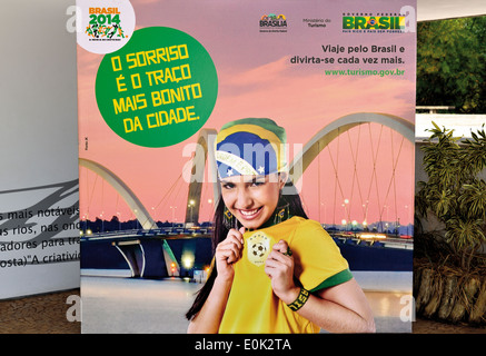 Brazil: Publicity placard for the Soccer World Championship 2014 in Brasilia - Stock Photo