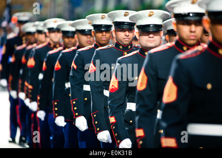 NEW YORK -- Marines from 6th Communications Battalion, Marine Forces Reserve, marched in the annual New York Veterans - Stock Photo
