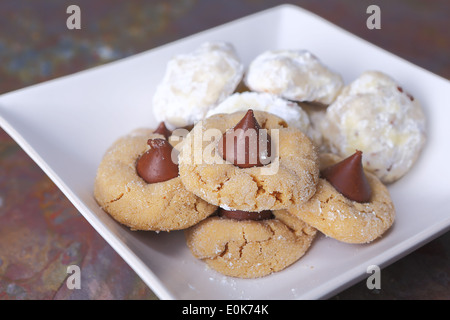 Beautiful peanut butter and chocolate and powdered sugar cookies - Stock Photo