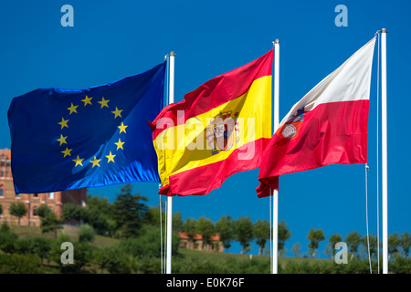 Flags of Spain, European Union and Cantabria in Comillas, Cantabria, Northern Spain - Stock Photo