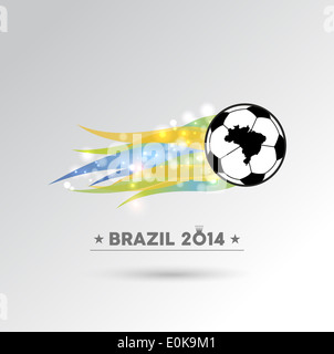 Brazil 2014 championship soccer ball in colors flames design element. EPS10 vector file with transparency layers. - Stock Photo