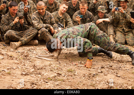 Royal Thai Marine Corps Sgt. Pairoj Prasarnsai kisses the head of a cobra during a jungle survival class part of exercise Cobra Stock Photo