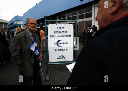 Thessaloniki, Greece . 15th May, 2014. New Democracy supporters arrives at the event. Greek Prime Minister Antonis - Stock Photo
